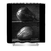 Two Ripe Pears In Black And White Shower Curtain