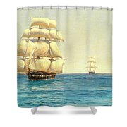 Two Royal Navy Corvettes On Patrol In The Southern Ocean Shower Curtain