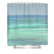 Two Sailboats In The Bahamas Shower Curtain