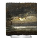 Two Sailing Boats By Moonlight Shower Curtain