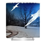 Two Seagulls Fly Together In The Clear Blue Sky Shower Curtain by Fernando Cruz