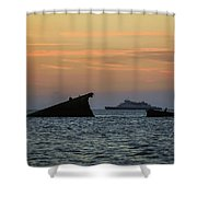 Two Ships Sunset Beach Cape May Nj Shower Curtain