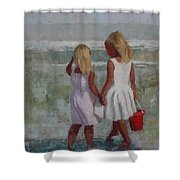 Two Sisters And Red Bucket Shower Curtain