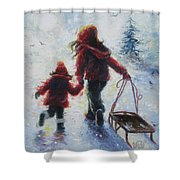 Two Sisters Going Sledding Shower Curtain