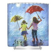 Two Sisters Rain Blond Little Sister Shower Curtain