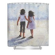 Two Sisters Walking Beach Shower Curtain