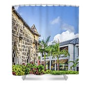 Two Solitudes, Holetown Church And Limegrove Mall, Barbados Shower Curtain