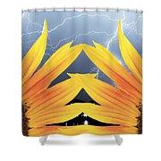 Two Sunflower Lightning Storm Shower Curtain