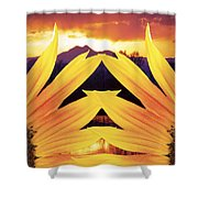 Two Sunflower Sunset Shower Curtain