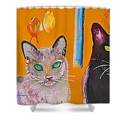 Two Superior Cats With Wild Wallpaper Shower Curtain
