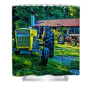 Two Tractors And A Barn 2697t Shower Curtain