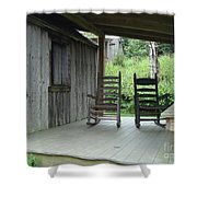 Two Tranquil Rocking Chairs In The Mountains Shower Curtain