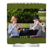 Two Trumpets Shower Curtain
