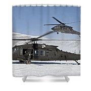 Two U.s. Army Uh-60 Black Hawk Shower Curtain