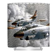 Two U.s. Navy T-2c Buckeye Aircraft Shower Curtain