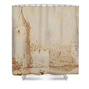 Two Views Of Egmond Castle Shower Curtain