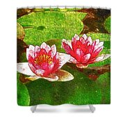 Two Waterlily Flower Shower Curtain