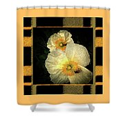 Two Honey Bees Two White Flowers Matted Shower Curtain
