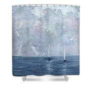 Two White Sails Shower Curtain