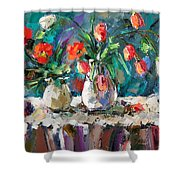 Two White Tulips Shower Curtain