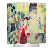 Two Women And A Man With Parrots Shower Curtain