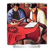 Two Women At The Table By August Macke Shower Curtain