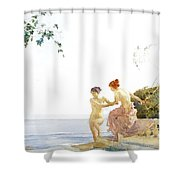 Two Women On The Steps At Noon  Shower Curtain