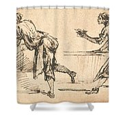 Two Workmen At Tables (recto) Shower Curtain
