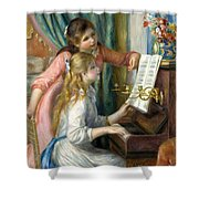 Two Young Girls At The Piano, 1892  Shower Curtain