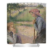 Two Young Peasant Women Shower Curtain