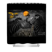 Two Zebras And Macaw Shower Curtain
