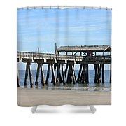 Tybee Island Pier Closeup Shower Curtain by Carol Groenen
