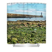 Tynemouth Pier Landscape In Color 2 Shower Curtain