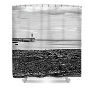 Tynemouth Pier Landscape In Monochrome Shower Curtain