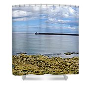 Tynemouth Piers And Lighthouses Panorama Shower Curtain