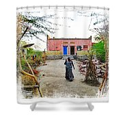 Typical House India Rajasthani Village 1c Shower Curtain