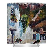 Typical Street Of Granada. Original Acrylic On Paper Shower Curtain