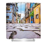 half-timbered houses, Riquewihr, Alsace, France   Shower Curtain