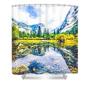 Typical View Of The Yosemite National Park Shower Curtain