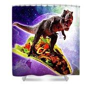 Tyrannosaurus Rex Dinosaur Riding Taco In Space Shower Curtain