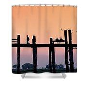 U-bein Bridge At Dawn Shower Curtain