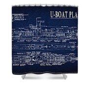 U-boat Submarine Plan Shower Curtain