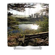 U R Here - On The Bench Shower Curtain