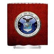 U. S.  Air Force  -  U S A F Emblem Over Red Velvet Shower Curtain