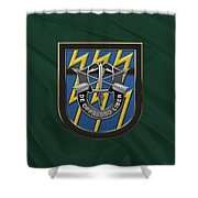 U. S.  Army 12th Special Forces Group - 12 S F G  Beret Flash Over Green Beret Felt Shower Curtain