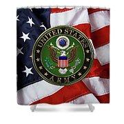 U. S. Army Emblem Over American Flag. Shower Curtain