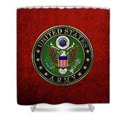 U. S.  Army Emblem Over Red Velvet Shower Curtain