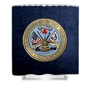 U. S. Army Seal Over Blue Velvet Shower Curtain