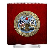 U. S. Army Seal Over Red Velvet Shower Curtain