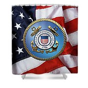 U. S. Coast Guard - U S C G Emblem Over American Flag Shower Curtain